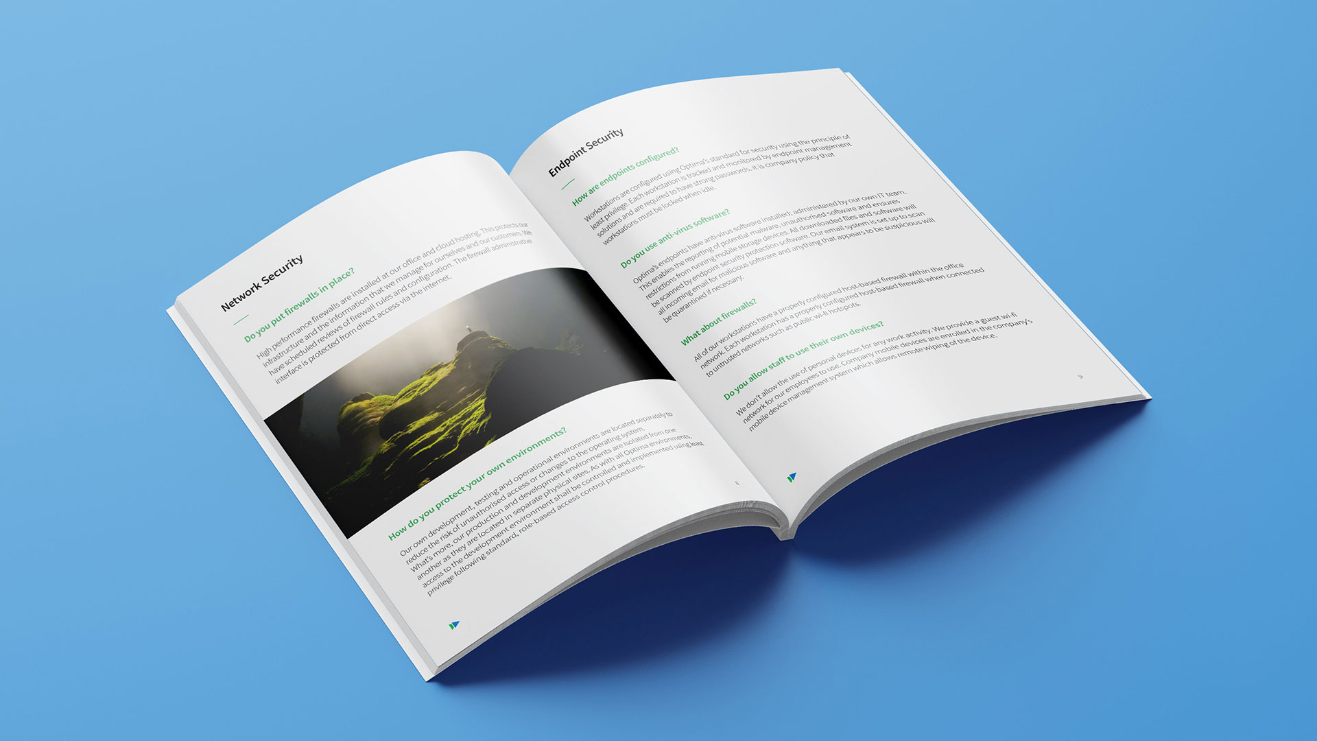 Security document design - double spread - for Optima Energy