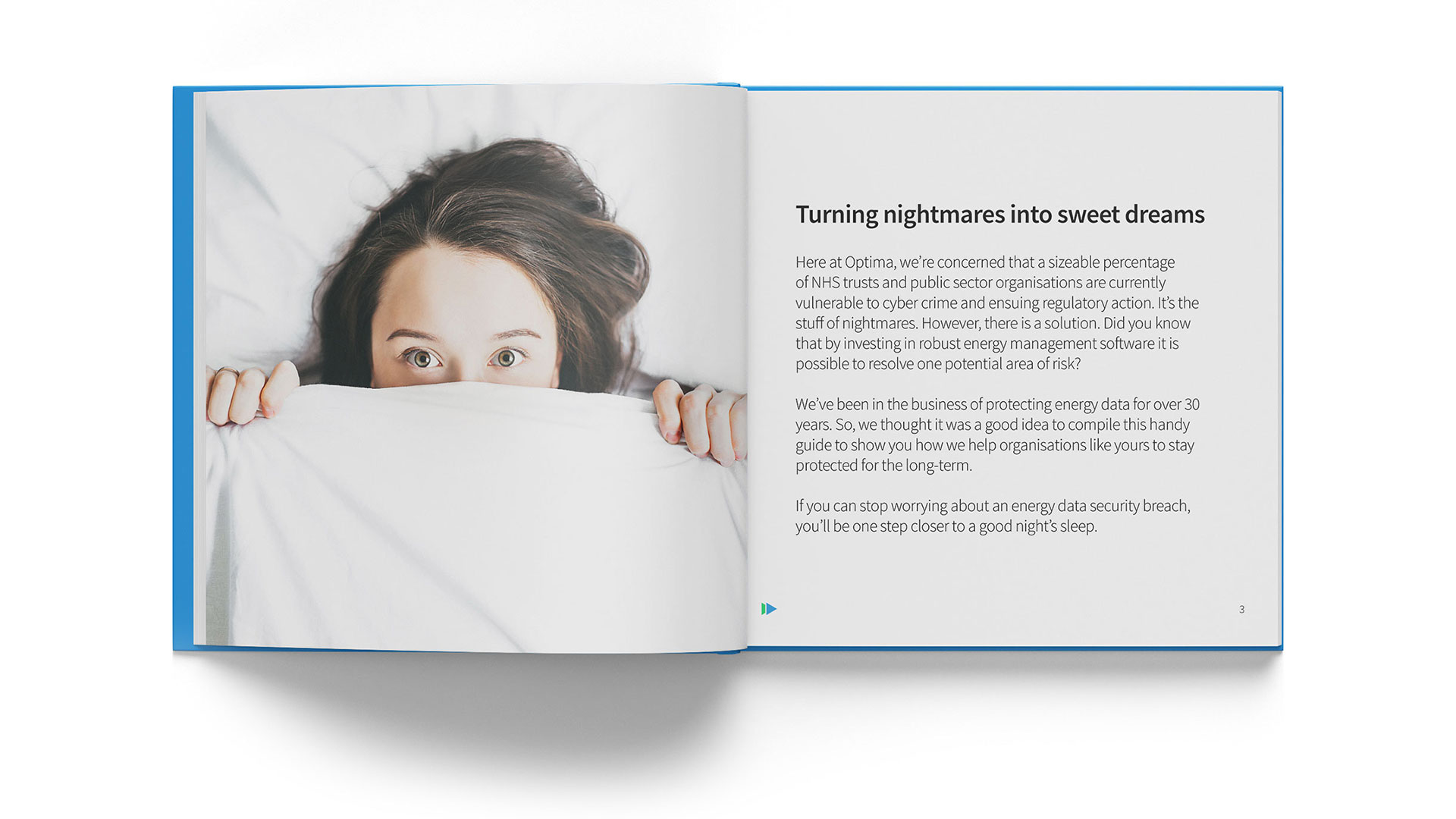 NHS book marketing collateral designed for Optima Energy by Content Coms