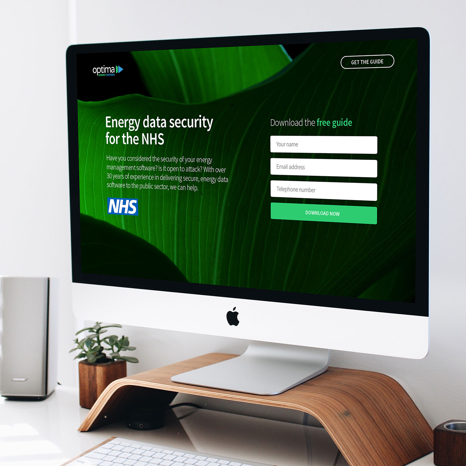 Landing page for energy data security software by Content Coms