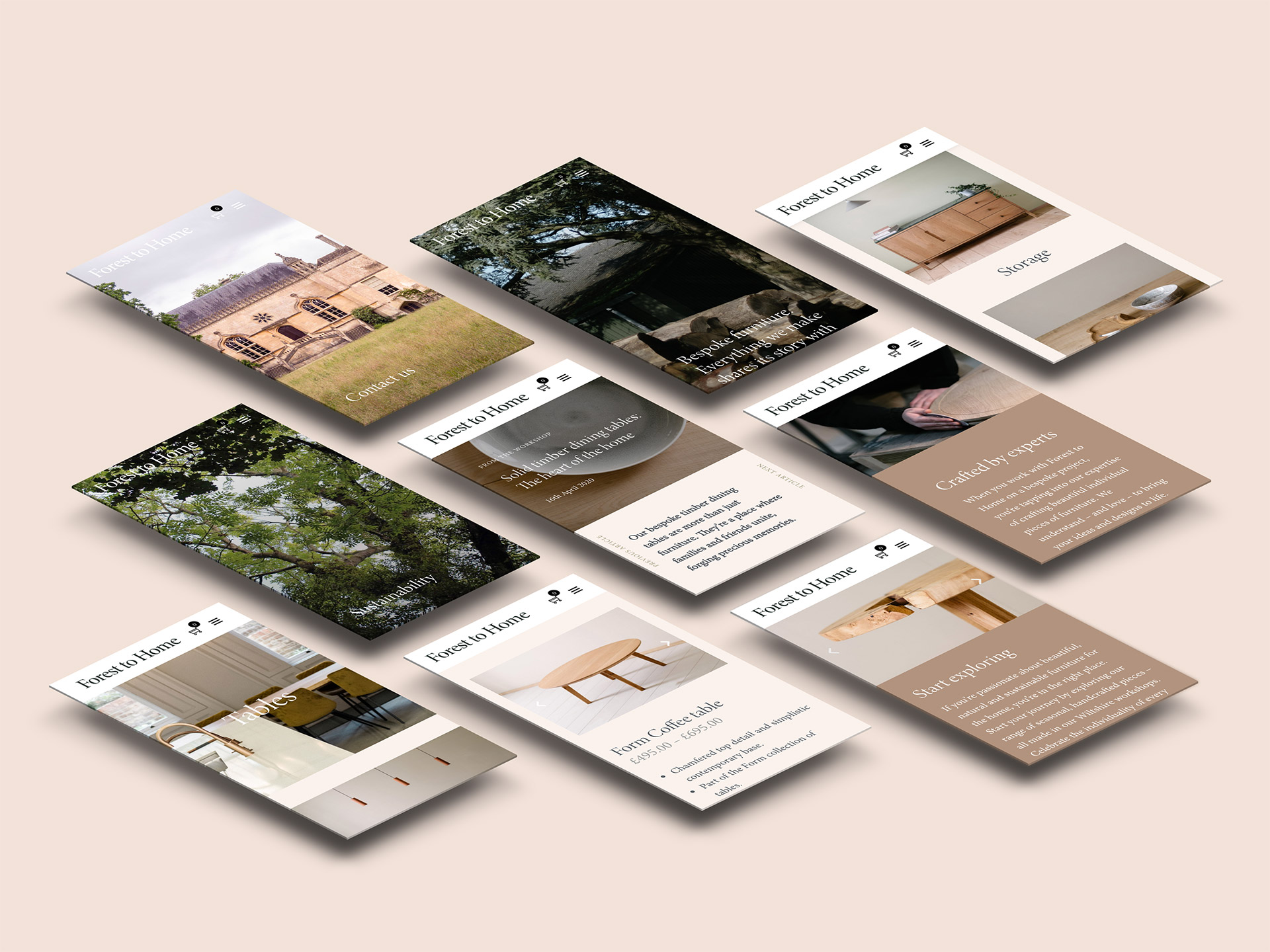 Forest to Home - Mobile design of ecommerce website