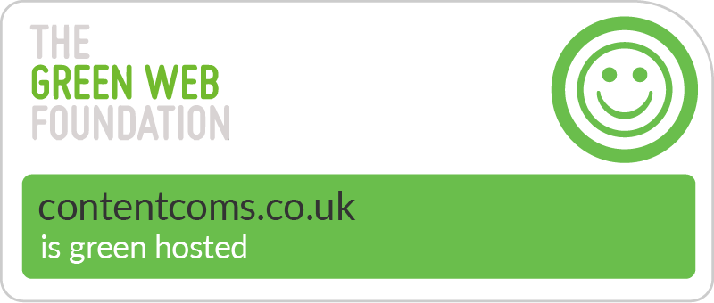 Content Coms - Hosted Green - The Green Web Foundation badge