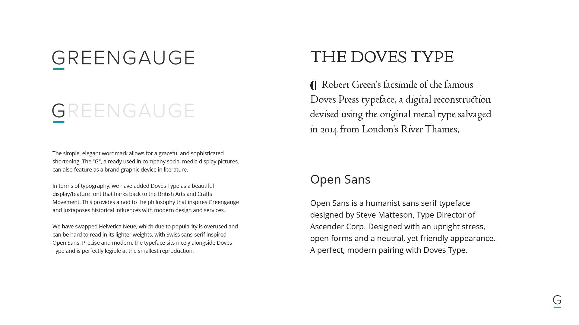 Doves Type for Greengauge brand refresh