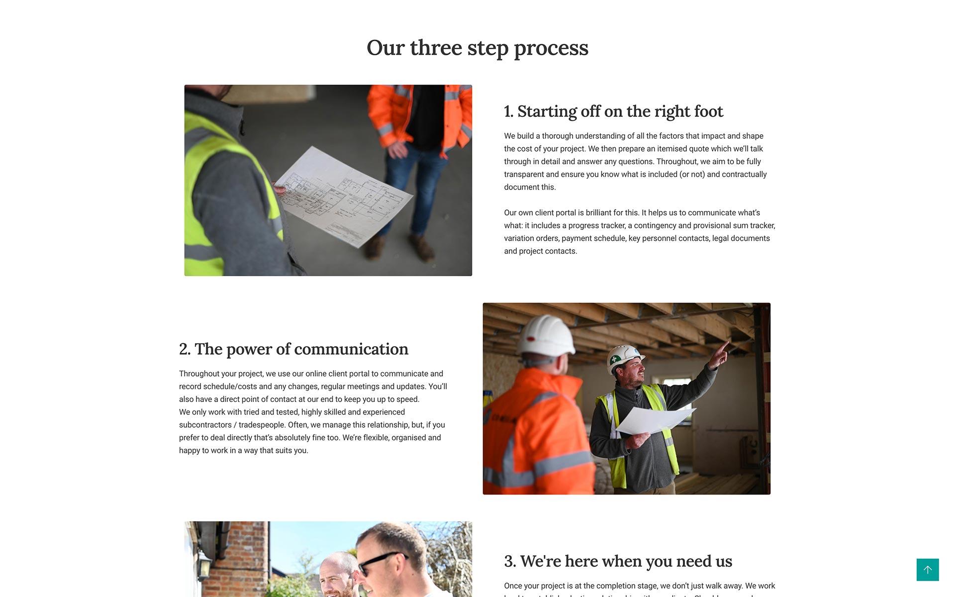 About Corella Construction – UX website design