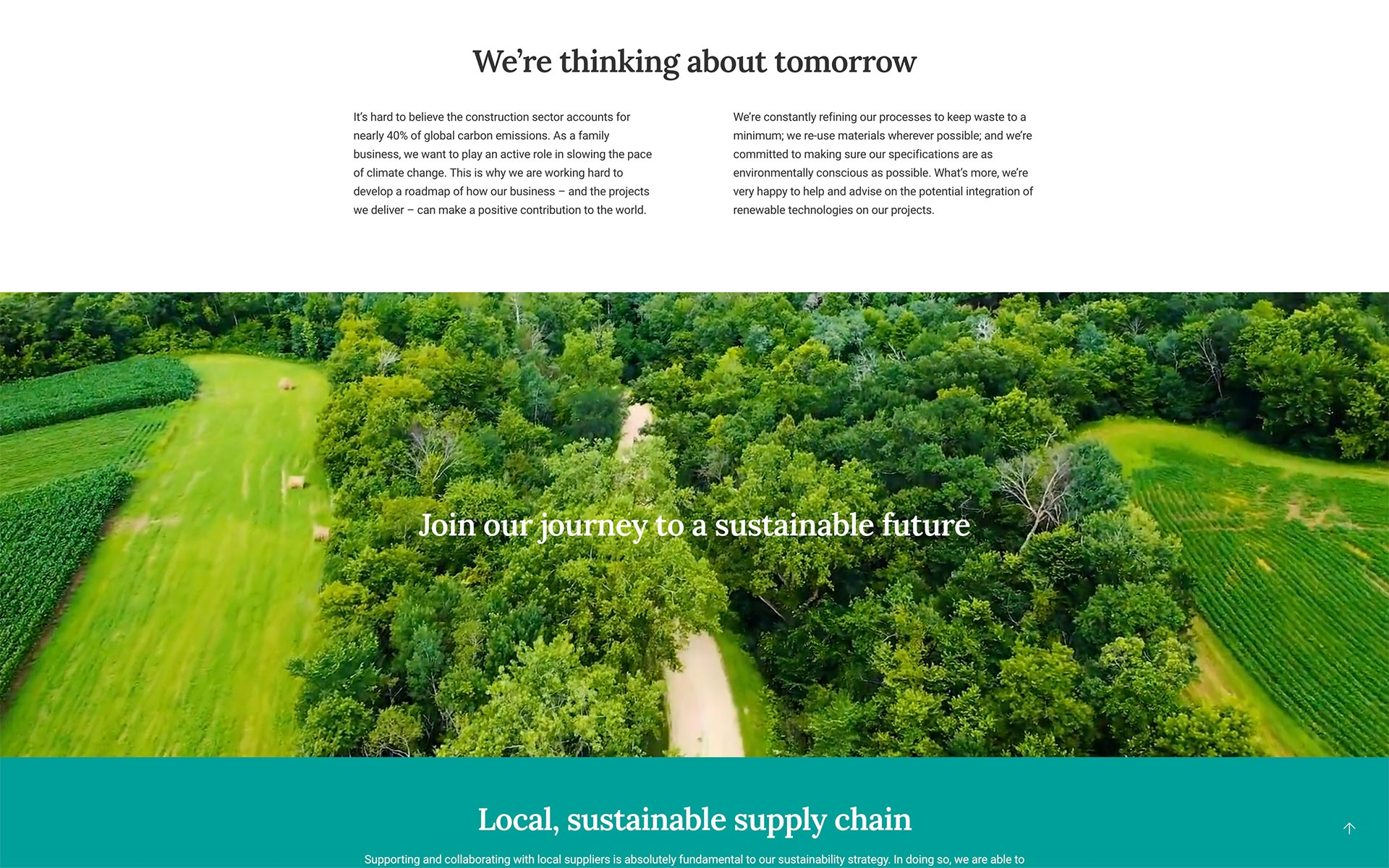 Sustainability impacts page for building contractor Corella